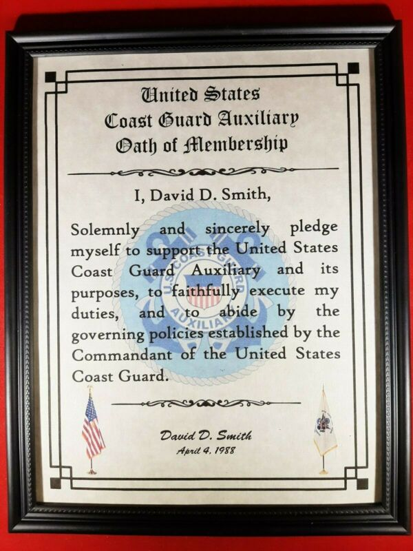 MC-NICE: Oath of Membership Certificate COAST GUARD AUXILIARY PERSONALIZED