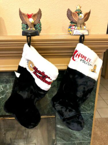 Lot of 2 Harley Davidson Christmas Stockings & Mantel Hangers - Great Condition!
