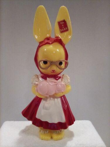 Vintage Easter Hard Plastic Knickerbocker Girl Bunny Rabbit Bank