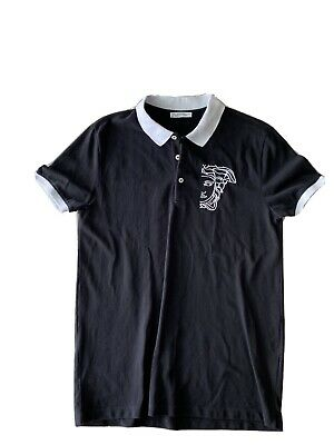 Versace Collection Mens Polo Shirt Size Small Black Short Sleeve Medusa Head