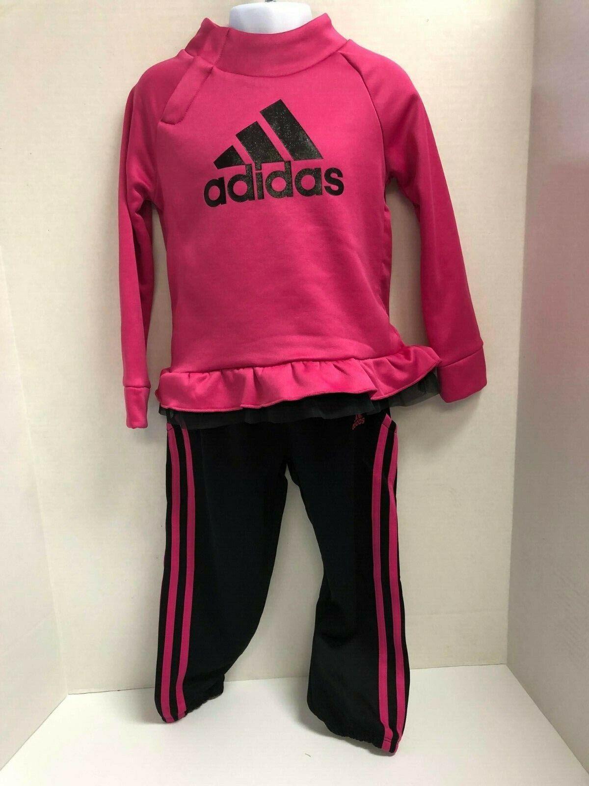 adidas Little Girls Sweatshirt and 3 stripe Jogger Track Sui