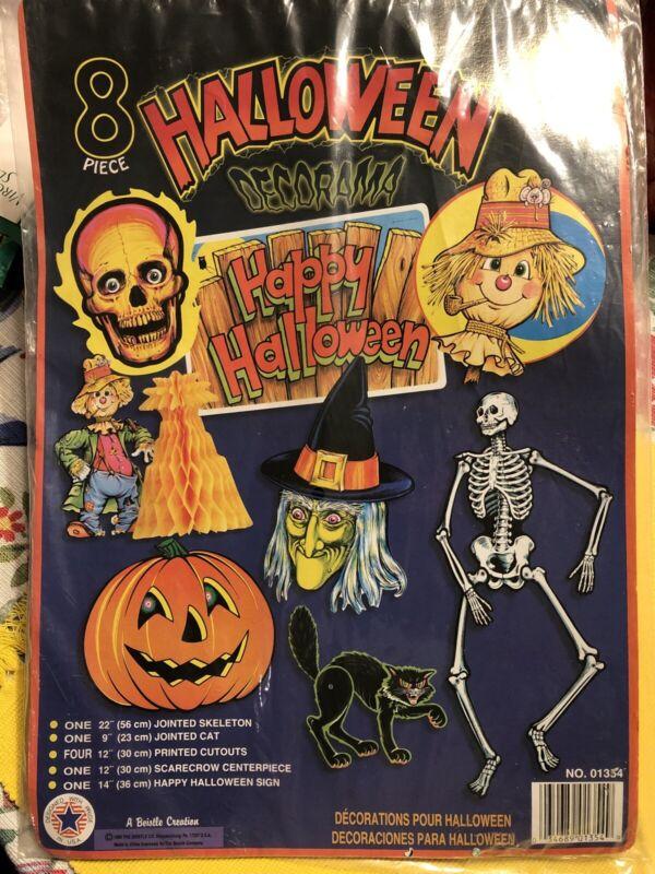 8 Piece NOS Beistle Halloween Die Cuts 1995 Cat Witch Skeleton Pumpkin Scarecrow