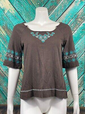 C. Keer Anthropologie Women's Top Medium Brown 100% Cotton Embroidered Tie Back