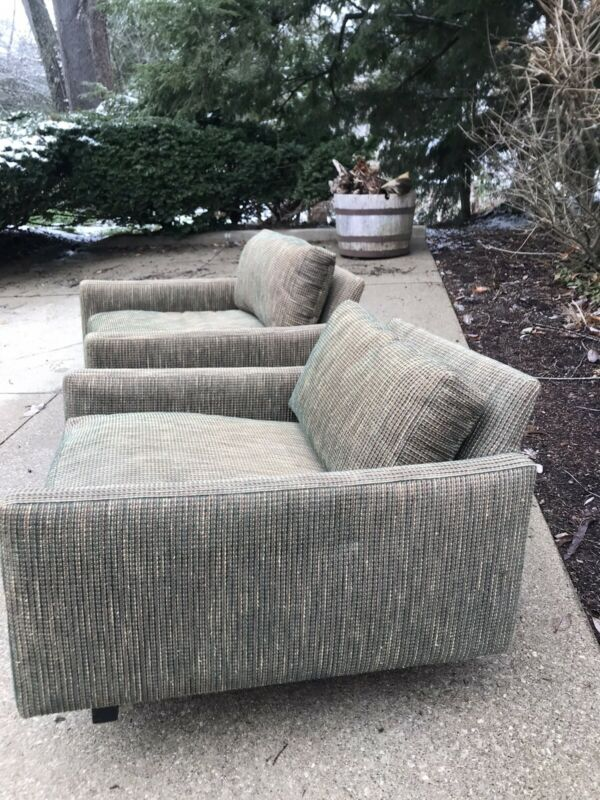 Vintage Mid Century Modern Selig Style Cube Lounge Arm Chairs