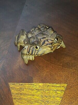 Vintage Mid Century Witco Burned Wood Carved Frog Horny Toad Advertising