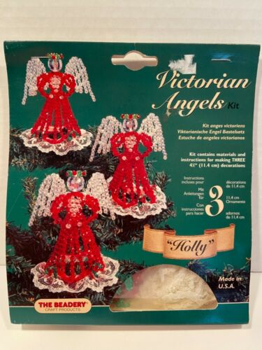 """Vintage Victorian Angels Bead Kit Beadery """"HOLLY"""" Christmas Ornaments  NEW! 4839"""