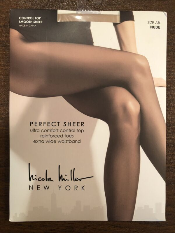 NEW Nicole Miller Pantyhose Size AB Nude Perfect Sheer Control Top