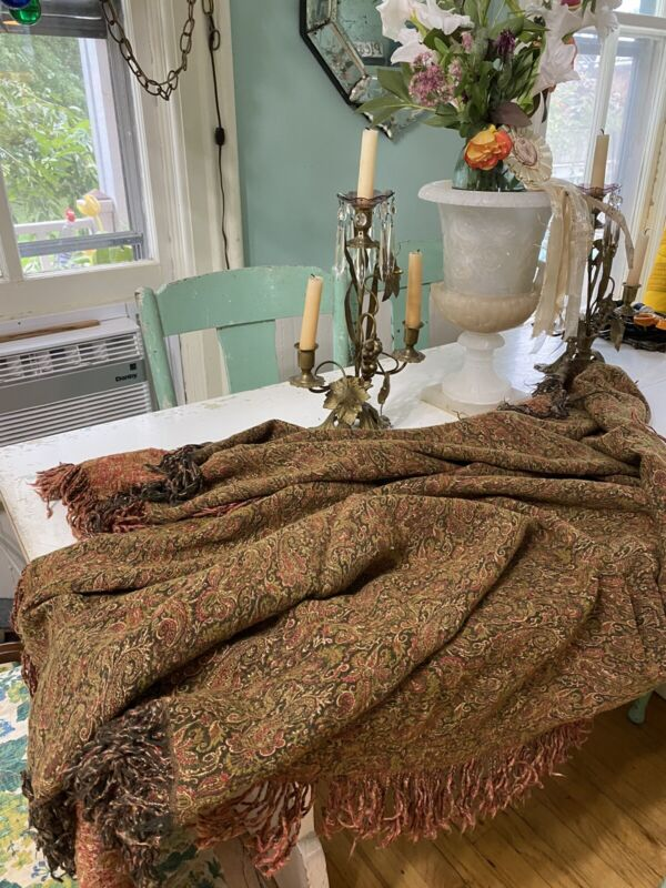 Antique Edwardian Victorian Shawl Fringed Wool Paisley Handwoven Olive Rust