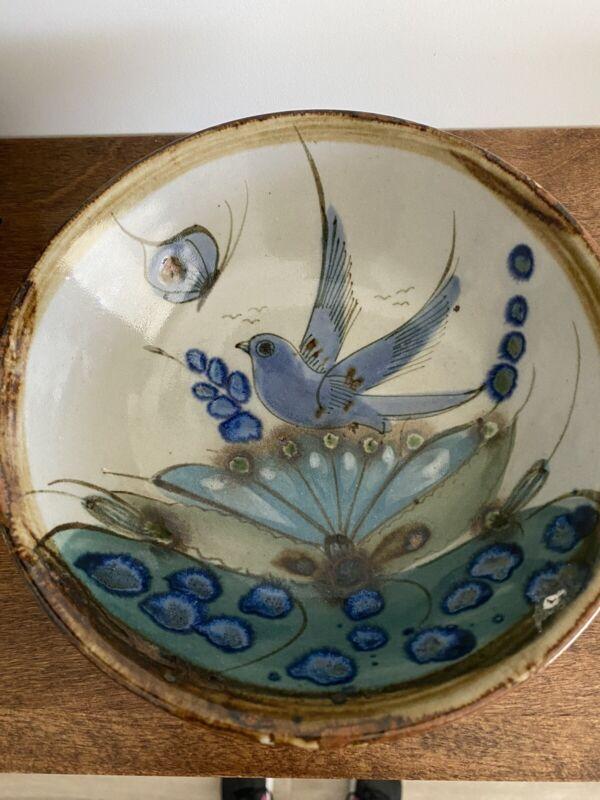 Vintage Mexican Folk Art Tonala Pottery Bowl signed Ken Edwards