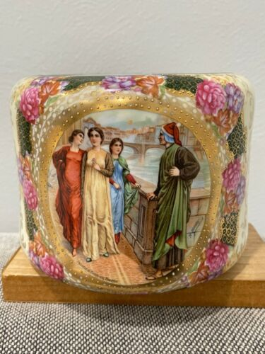 Vtg Antique European Porcelain Cache Pot Flowers & Dante Meeting Beatrice Dec.