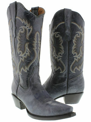 Womens Denim Blue Classic Western Casual Style Cowboy Boots
