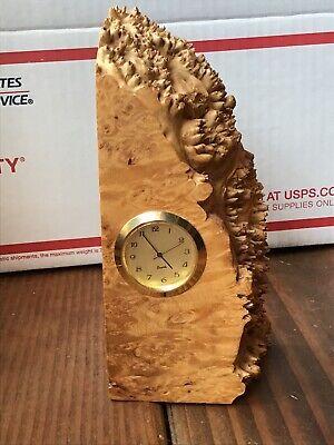 """CHARLES ELKAN Burl Wood Desk Clock, Signed, 6"""" Book -"""