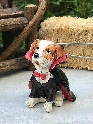 Miniature Dollhouse FAIRY GARDEN ~ Mini HALLOWEEN Dog in Vampire Costume ~ NEW