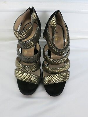 CHRISTIAN LOUBOUTIN gold and black snakeskin sandal size 37.5 US 7.5