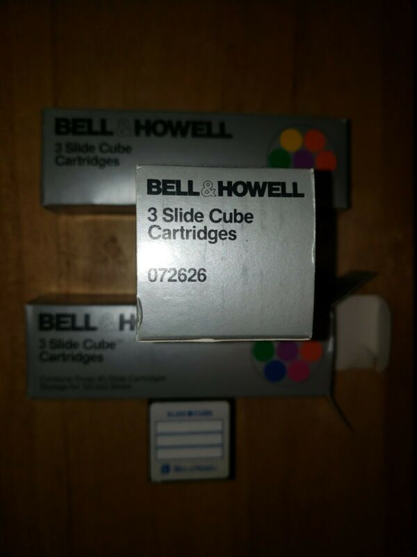 3 NIB BELL AND HOWELL SLIDE CUBE CARTRIDGES  072626