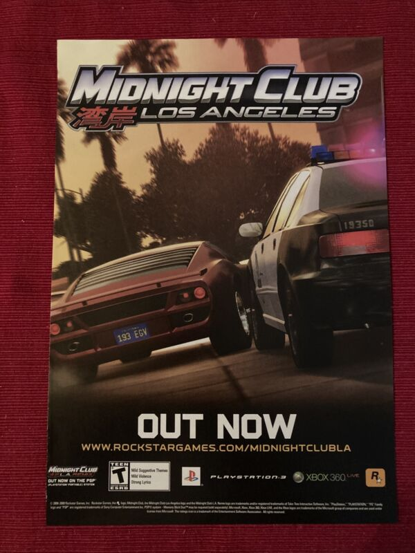 Midnight Club Los Angeles Xbox PlayStation 2008 Ad/Poster Promo Art
