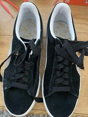 Puma Suede Trainers Black Size Uk 4 No Laces