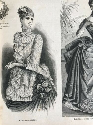 MODE ILLUSTREE SEWING PATTERN Dec 27,1885 - MANTELET DE THEATRE, veste brodee