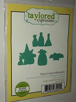 TAYLORED EXPRESSIONS TAG A LONG HALLOWEEN WITCH BAT STEEL CUTTING DIE DIES NEW  - Halloween Expressions