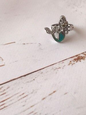 Mood Stone Little Mermaid Silver Tone Ring Adjustable Fits Size Up To Q (Little Mermaid Rings)