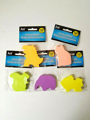 Lot Of 5 Jot Sticky Note 120 Sheets -squirrel Elephant Dinosaur Cat Fish