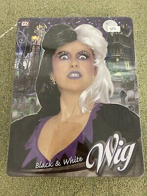 HEXENPERÜCKE SCHWARZ WEIß Halloween Hexen Hexe Perücke Damen - Weiße Hexe Perücke