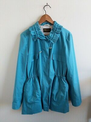 Loro Piana Womens blue wind jacket water proof pockets cinched waist size 48
