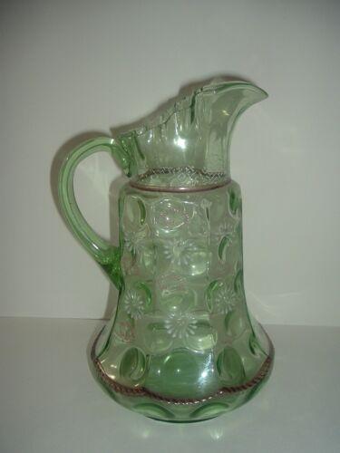 Antique Tall Green Glass Pitcher