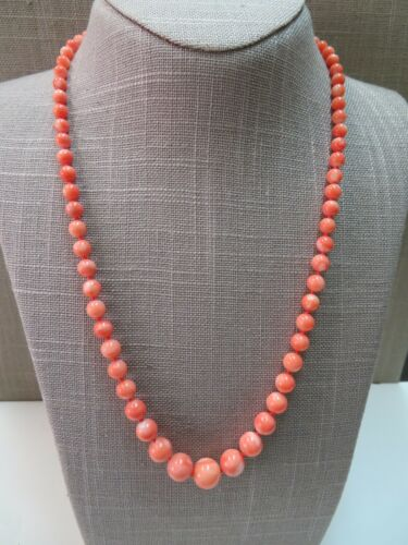 "Vtg 14k Coral Beads Necklace 21"" Hand Knotted 5-11mm Graduated Beads"