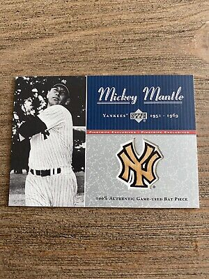 2001 Upper Deck Pinstripe Exclusives Mickey Mantle Bat Card #061/100 Yankees HOF