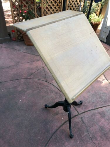 Rare WPI/Washburn Shops Worcester Antique Drafting Table Black  Cast Iron Base