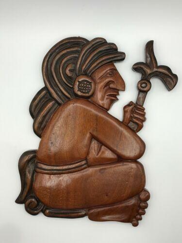 Vintage Hand Carved Honduran Folk Art Signed Seated Mayan Warrior Wall Hanging