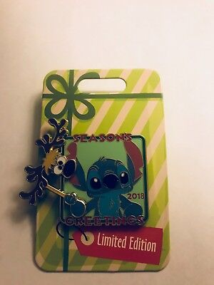 Disney Seasons Greetings 2018 Stitch W/ Reindeer Mask Christmas Pin
