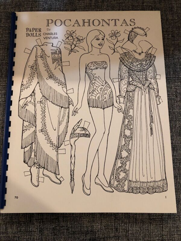 Pocahontas Paper Dolls by Charles Ventura SIGNED UNCUT