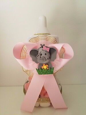 Baby Shower Elephant Centerpiece Bottle Large Piggy Bank It's a Girl Table Decor, used for sale  Highland