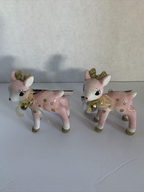 NWT 2 Pink Retro Style Ceramic Deer Christmas Figurine Target Wondershop 2020