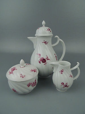 Antique Meissen Porcelain Tea Set - Teapot Creamer Sugar Jar - Purple Flowers PC