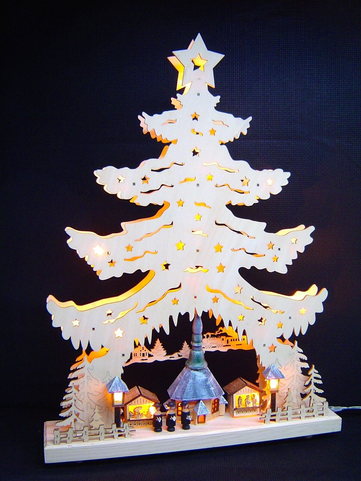 led lichterbogen schwibbogen spitze 3d seiffen kirche mit figuren 39x53 cm 10045 eur 62 99. Black Bedroom Furniture Sets. Home Design Ideas