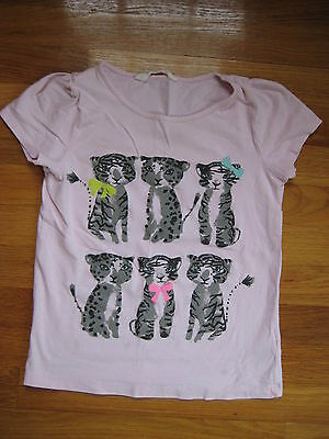 H&M girls pink Cat Kitten T SHIRT sparkle 8 9 10 maine coon siberian tiger gray