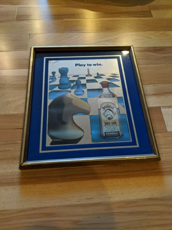 BOMBAY DRY GIN FRAMED MIRROR CHESS BAR BEER SIGN
