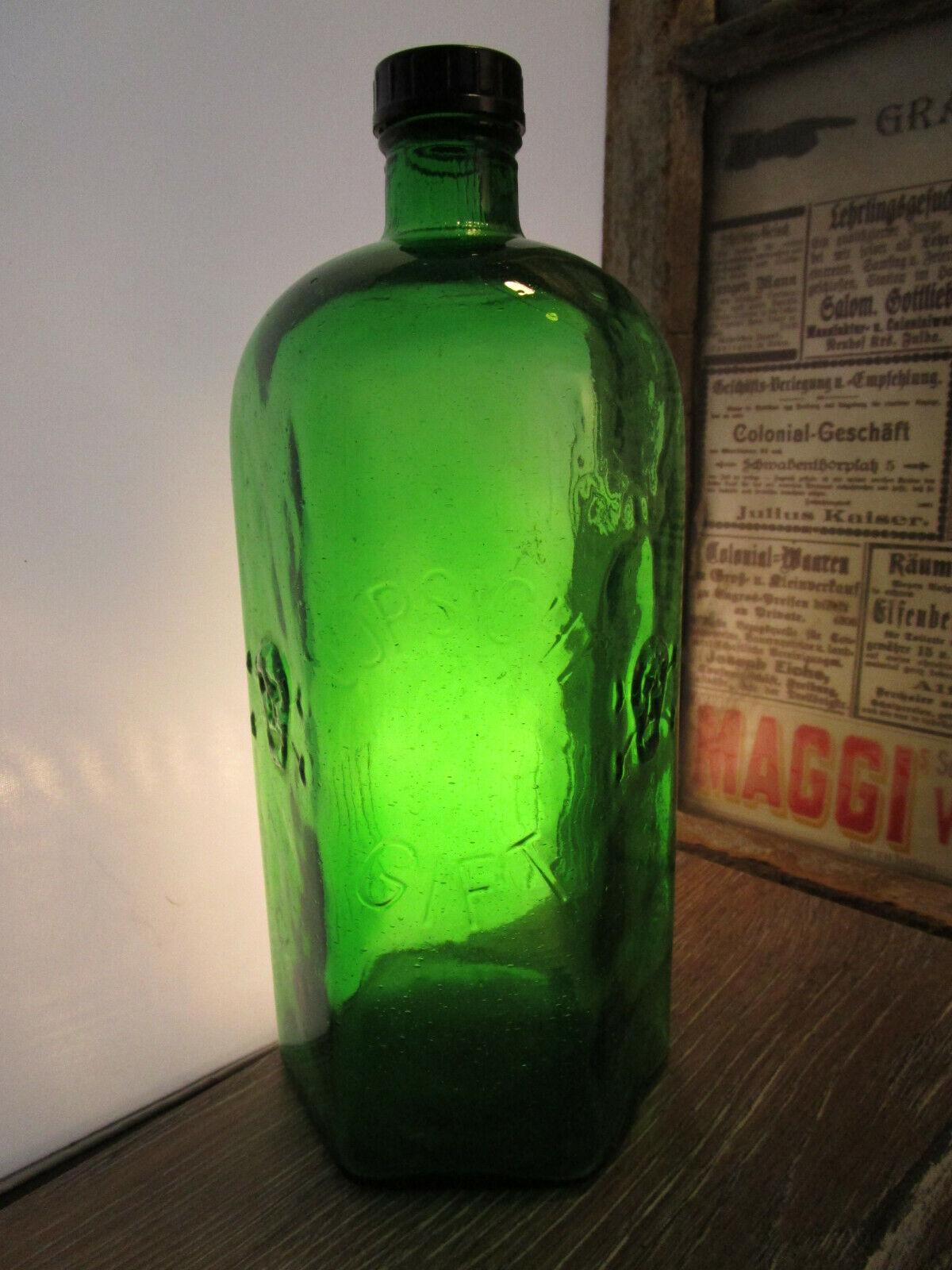 SELTEN RIESIGE 1000ml Giftflasche Flasche Vorratsflasche Totenkopf c1930