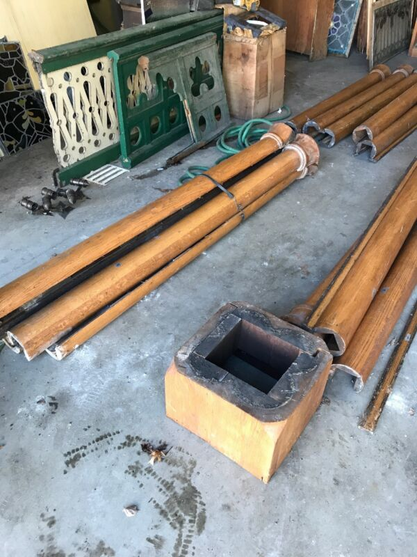 4 Available Price Separate Antique Oak 4 Column Pillar92 inch