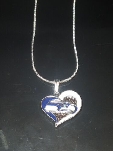 Seattle Seahawks Heart Pendant Necklace Sterling Silver Chai
