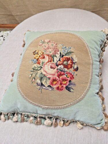 Antique Petit Point Floral Tassels Celedon Velvet Down Pillow Shabby Chic