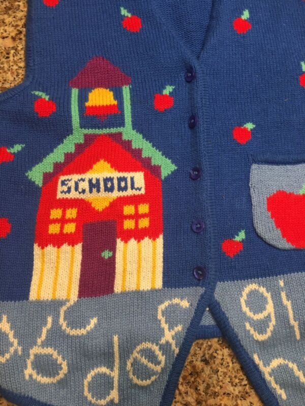 School House Teacher Apple Sweater Vest Woman Large Blue Button Up