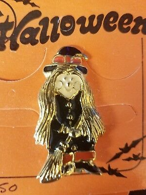 Halloween Happy Spooky Witch with Broom and Hat Enamel Shirt Pin Brooch  - Halloween Pins And Brooches