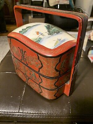 Vintage Chinese Tiered Lunch Box with Ceramic Insert