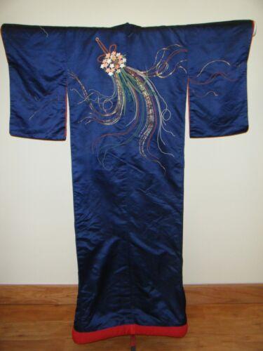 Antique Meiji Japanese Uchikake Wedding Kimono w/ Embroidered Flower Baskets