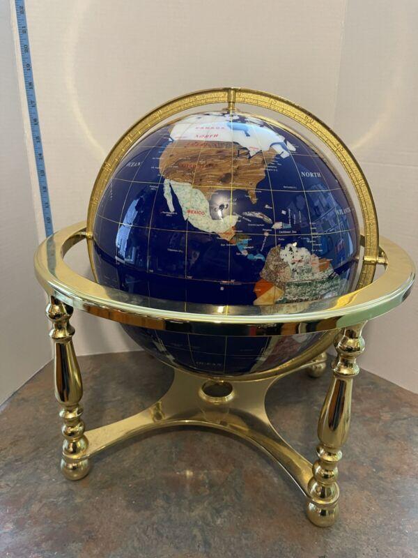 World Desk Globe Inlaid Precious Gem Stones on brushed Metal Stand C Details