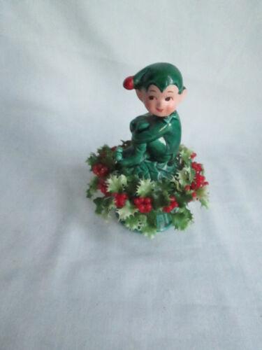 "Vintage 5"" Ceramic Knee Hugging Elf Pixie w/ Holly Firgurine, Shelf Sitter, EUC"
